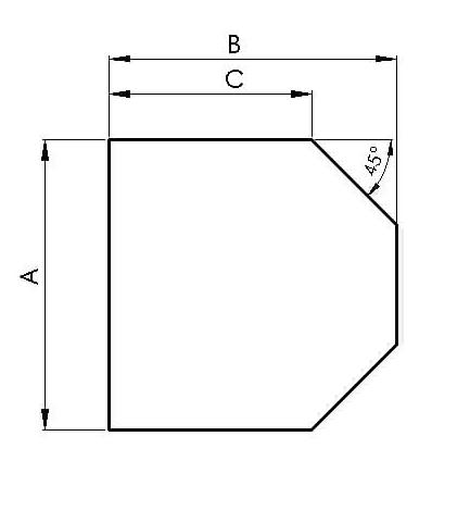 Glasbodenplatte Sechseck 1000 x 1200 mm mit Facette